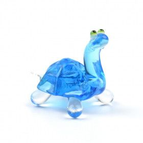 Tiny Blue Turtle Glass Figurine