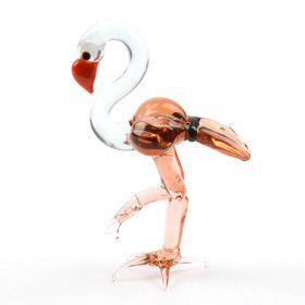 Pink Flamingo Glass Figurine
