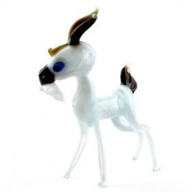White Billy The Goat Glass Figurine