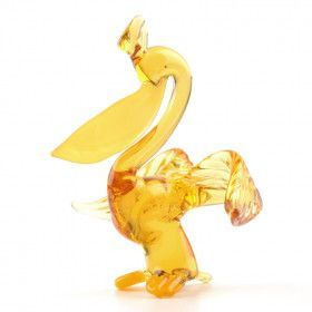 Yellow Beak Pelican Glass Figurine