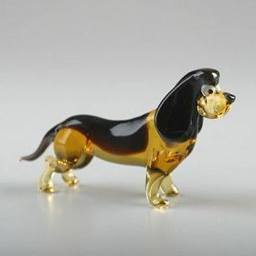 Basset Dog Glass Figurine