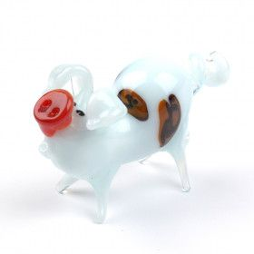 White Piggy Pig Glass Figurine