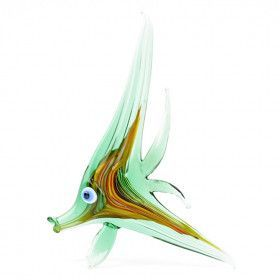 Green Angel Fish Glass Figurine