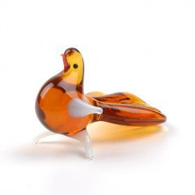 Brown Glass Pigeon Figurine