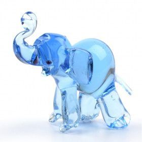 Blue Elephant Glass Figurine