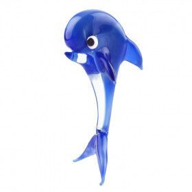 Happy Dolphin Blue Glass Miniature