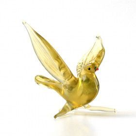 Pigeon in Flight Glass Figurine