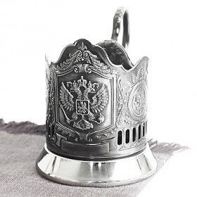 Nickel Plated Russian Tea Glass Holder with Russian Crest