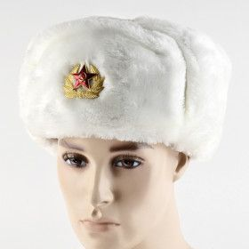 White Russian Shapka Ushanka Hat