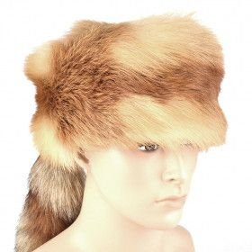 Red Fox Fur Trapper Hat with Tail