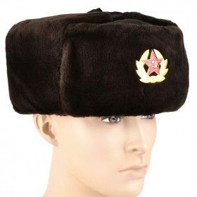 Soft Brown and Green Soviet Ushanka Hat