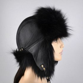 Black Fox Fur & Leather Hat