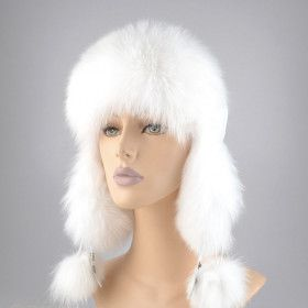 White Fox Fur and Leather Hat
