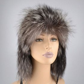 Genuine Silver Fox Fur Russian Hat
