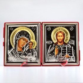 Christ & Virgin Of Kazan Diptych Wedding Icon Set