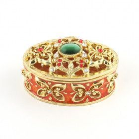 Jewelled Oval Trinket Keepsake Box