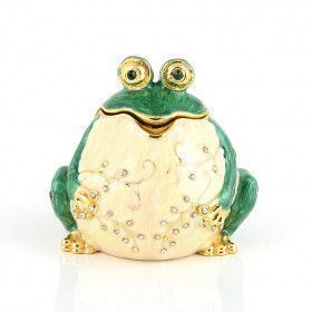 Charming Green Frog Trinket Box