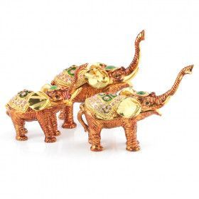 Family of Three Elephants Trinket Box Set