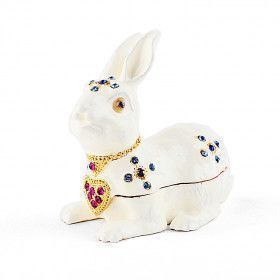 White Jeweled Bunny Trinket Box