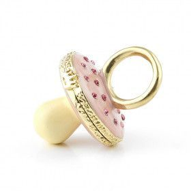 Pink Pacifier Trinket Box with Gold Plating