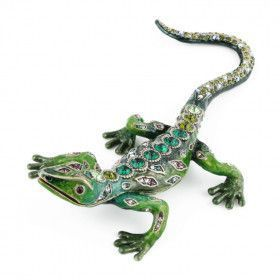 Green Lizard with Crystals Trinket Box