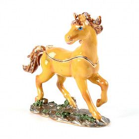 Tan Horse Trinket Box
