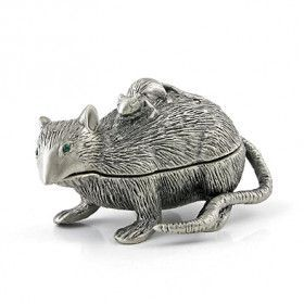 Cute and Friendly Rat Family Trinket Box
