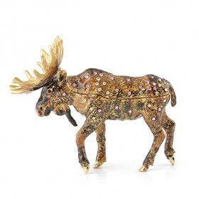 Brown Bejeweled Moose Trinket Box