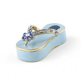 Blue Flip Flop Jeweled Keepsake Box