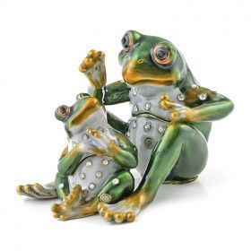 Frog Family Jeweled Trinket Box Set