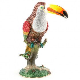 "10 1/2"" Tall Bejeweled Toucan Trinket Box"