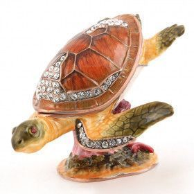 Swimming Turtle and Coral Trinket Box