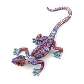 Fuschia Jeweled Lizard Trinket Box