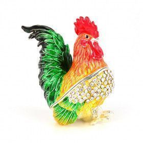 Striking Bright Rooster Keepsake Box