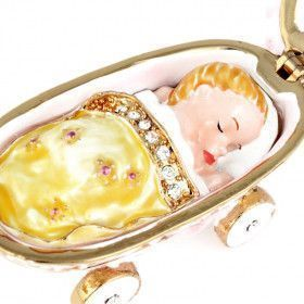 Baby in Carriage Trinket Box