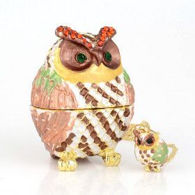 Jeweled Owl Trinket Box with Pendant