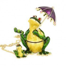 Frog Under Umbrella Trinket Box with Pendant
