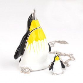 Penguin Trinket Box with Matching Pendant