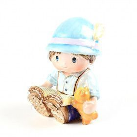 Little Boy with Book & Cat Trinket Box