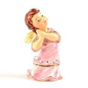 Young Praying Angel in Pink Trinket Box