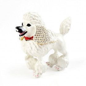White Poodle Keepsake Trinket Box