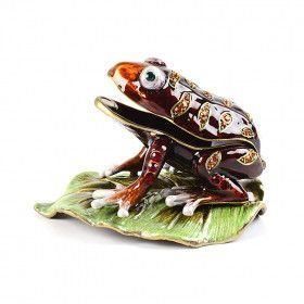 Brown Toad on Leaf Trinket Box