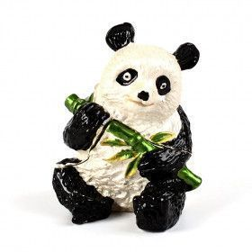 Panda With Bamboo Figurine Keepsake Box