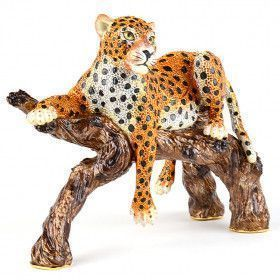 Large Lounging Leopard Trinket Box