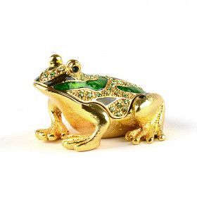 Bejeweled Green Frog Trinket Box