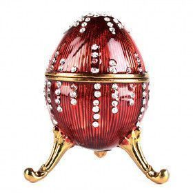 Red Egg Trinket Box with Crystals