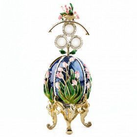 Tulips of the Valley Faberge Style Blue Egg