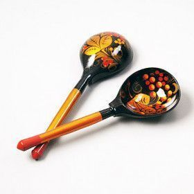Two Khokhloma Spoons Set