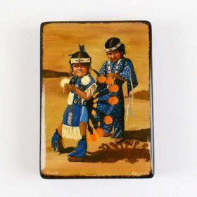 Young Native American Children Lacquer Box