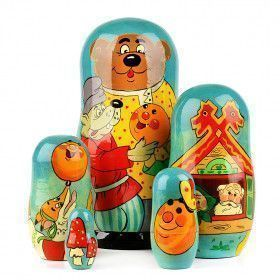 Russian Gingerbread Kolobok Tale Stacking Doll